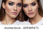 beauty portrait of sisters... | Shutterstock . vector #609489671