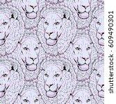 beautiful lion artwork....   Shutterstock . vector #609490301