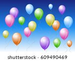 colorful balloons in the blue... | Shutterstock .eps vector #609490469
