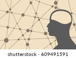 silhouette of a man's head.... | Shutterstock .eps vector #609491591