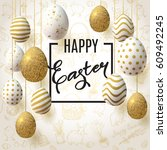 happy easter background with... | Shutterstock .eps vector #609492245