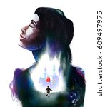 a glimpse into inner fantasy...   Shutterstock . vector #609497975