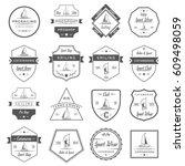 set of yacht and catamaran...   Shutterstock . vector #609498059