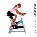 black girl doing stationary... | Shutterstock .eps vector #609498839