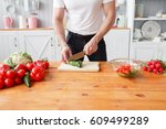 middle aged athlete  cuts... | Shutterstock . vector #609499289