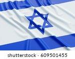 israel flag. wavy fabric high... | Shutterstock . vector #609501455