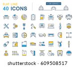 set  line icons car service ... | Shutterstock . vector #609508517