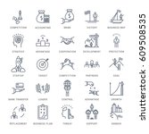 set  line icons with open path... | Shutterstock . vector #609508535