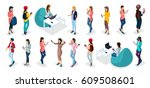 trendy isometric vector people  ... | Shutterstock .eps vector #609508601