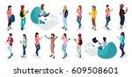 trendy isometric vector people  ... | Shutterstock .eps vector #609508601