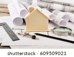 workplace of architect  ... | Shutterstock . vector #609509021