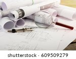 workplace of architect  ... | Shutterstock . vector #609509279