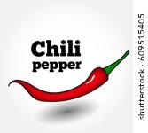 vector red chilli pepper... | Shutterstock .eps vector #609515405