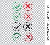 red cross and green tick vector ... | Shutterstock .eps vector #609516101