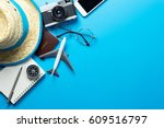 travel accessories with copy... | Shutterstock . vector #609516797