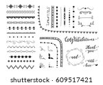 big set of decorative elements... | Shutterstock .eps vector #609517421