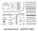 big set of decorative elements... | Shutterstock .eps vector #609517481