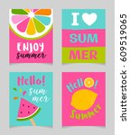 vector set of cute bright... | Shutterstock .eps vector #609519065