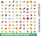 100 shopping products icons set ... | Shutterstock .eps vector #609521819