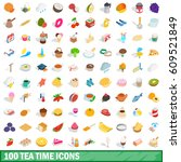 100 tea time icons set in... | Shutterstock .eps vector #609521849