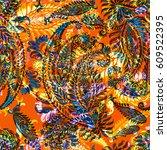 vivid paisley pattern... | Shutterstock . vector #609522395