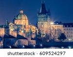 Night View Of Prague  Charles...