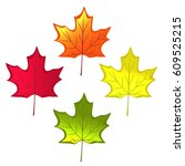 autumn maple leaves isolated on ... | Shutterstock .eps vector #609525215
