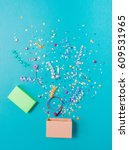 pink gift box with various... | Shutterstock . vector #609531965