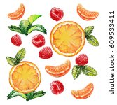 watercolor fruit pattern ... | Shutterstock . vector #609533411