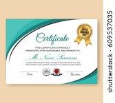 modern verified certificate... | Shutterstock .eps vector #609537035