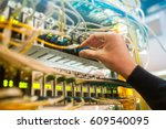 the engineer in a data... | Shutterstock . vector #609540095