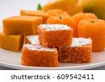 indian sweet food orange burfi... | Shutterstock . vector #609542411