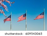 Small photo of Cherry blossom abd flags of the United States waving over blue sky in Washington DC