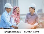 muslim business and engineer... | Shutterstock . vector #609544295