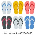 slippers set of female with... | Shutterstock .eps vector #609546635