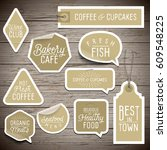 stickers on rustic wood... | Shutterstock .eps vector #609548225