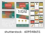 website template  one page... | Shutterstock .eps vector #609548651