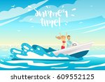 young beautiful couple in love... | Shutterstock .eps vector #609552125