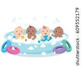 multiethnic babies playing in... | Shutterstock .eps vector #609552179
