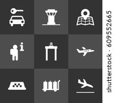 set of 9 airplane icons set... | Shutterstock .eps vector #609552665