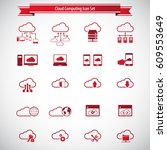 cloud computing icon set.... | Shutterstock .eps vector #609553649