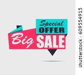 big sale banner. red discount... | Shutterstock .eps vector #609554915