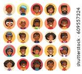set of 25 flat african american ... | Shutterstock .eps vector #609557324