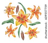 Yellow Watercolor Lilies On A...