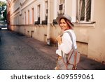 travel guide. young female... | Shutterstock . vector #609559061