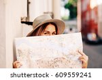 travel guide. young female... | Shutterstock . vector #609559241