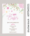 happy easter holiday background.... | Shutterstock .eps vector #609560321