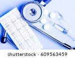 medical  medicine stethoscope ... | Shutterstock . vector #609563459