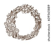 flower hand drawn wreath.... | Shutterstock .eps vector #609565889
