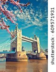 tower bridge at spring  london | Shutterstock . vector #609571931